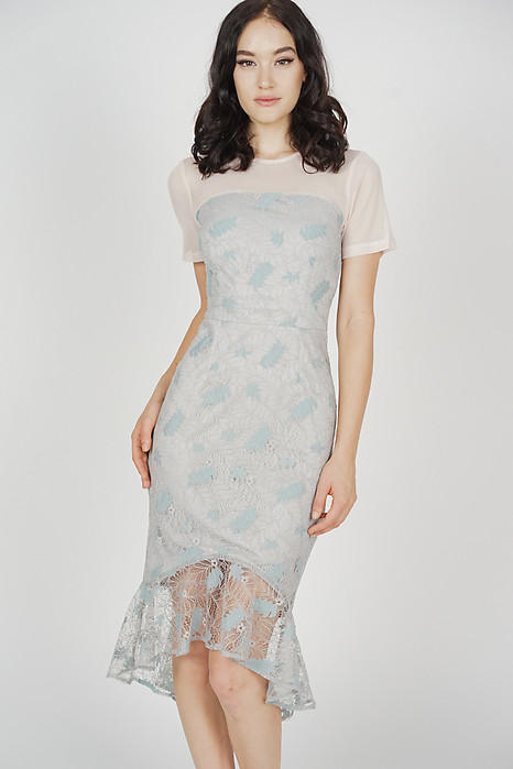 Erela Mesh Lace Dress in Ash Blue