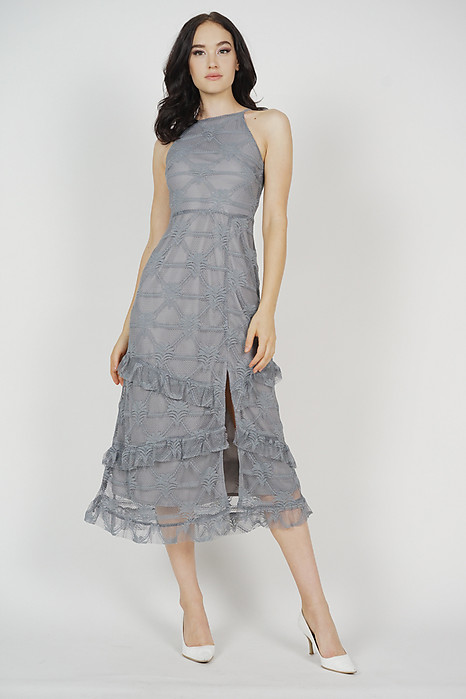 Sheina Ruffled Dress in Grey
