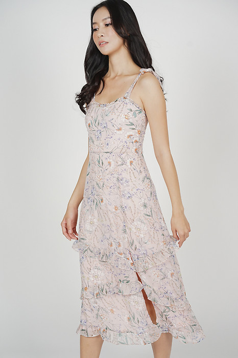 Lorel Ruffled Dress in Pink Floral