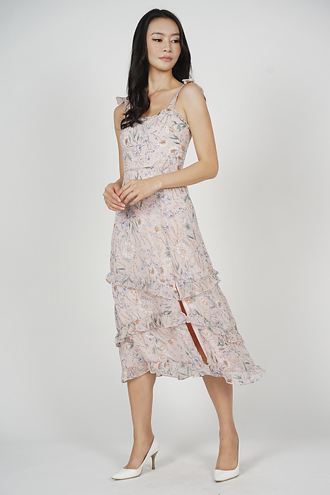 Lorel Ruffled Dress in Pink Floral - Arriving Soon