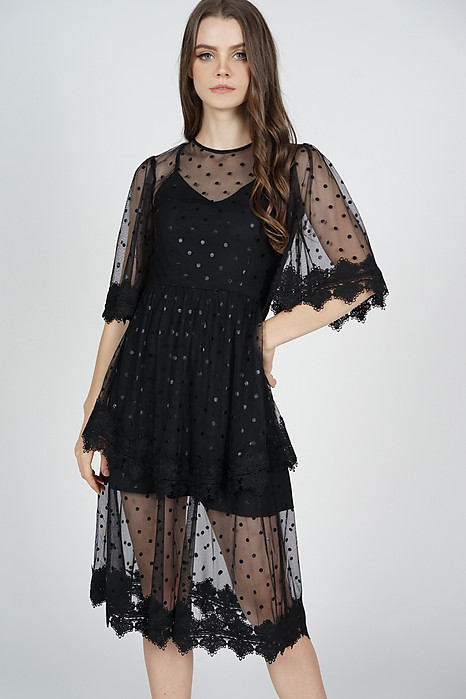 Zyrie Tiered Dress in Black Polka Dots - Arriving Soon