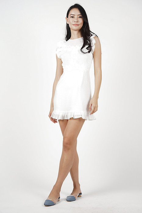Eloisia Ruffled Dress in White - Arriving Soon