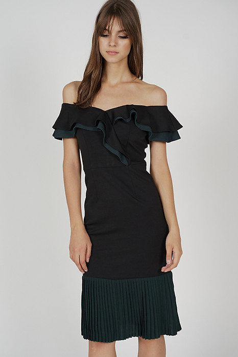 Joy Pleated-Hem Dress in Black Forest Green