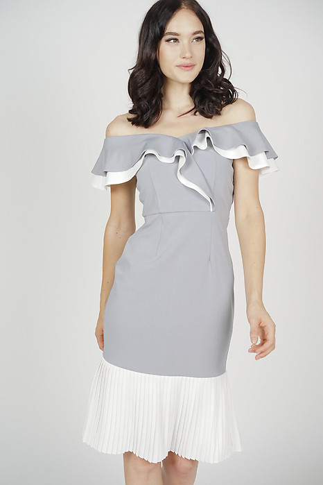 Joy Pleated-Hem Dress in Grey White