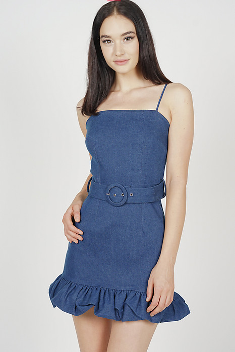 Yalena Ruffled-Hem Denim Dress in Blue - Arriving Soon