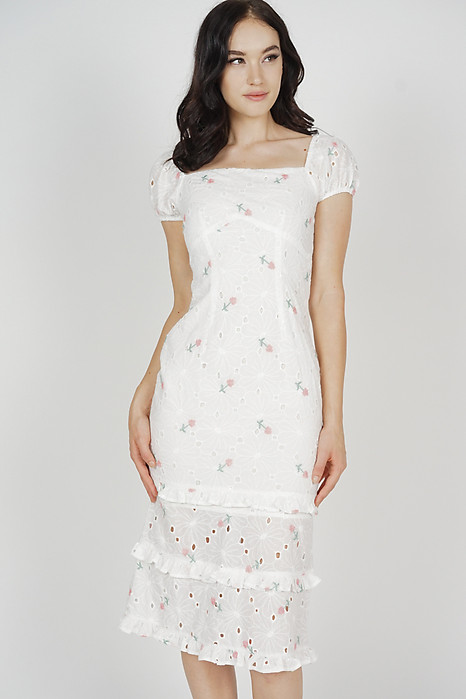 Josna Ruffled Dress in White Floral - Arriving Soon