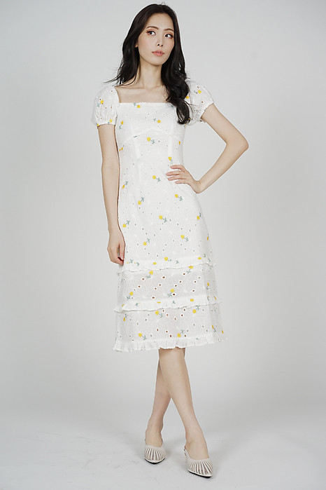 Josna Ruffled Dress in Yellow Floral - Arriving Soon