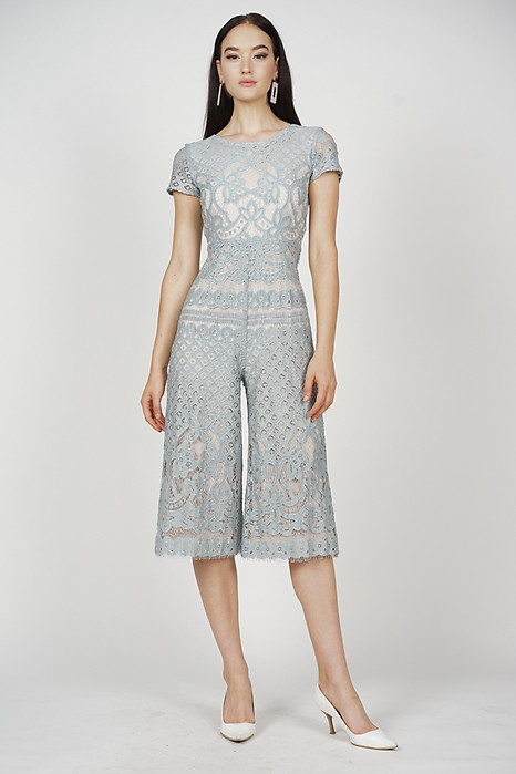 Tabitha Lace Jumpsuit in Ash Blue