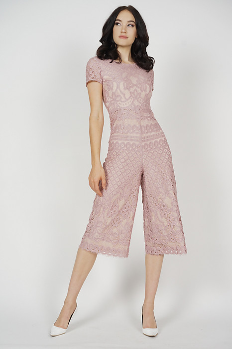 Tabitha Lace Jumpsuit in Pink