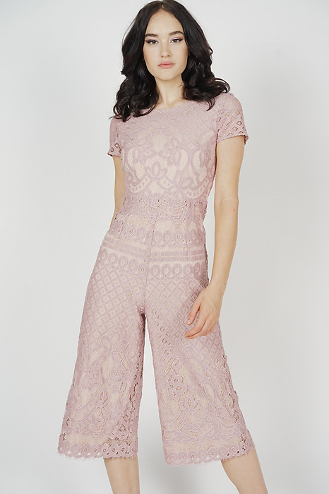 Tabitha Lace Jumpsuit in Pink - Arriving Soon