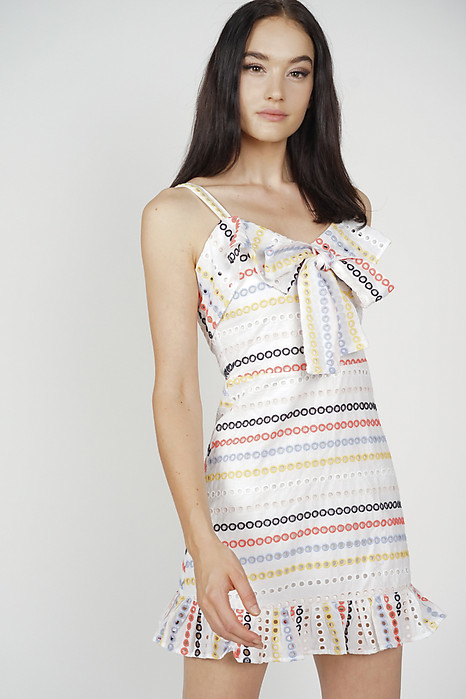 Mura Front Tie Dress in Rainbow - Arriving Soon