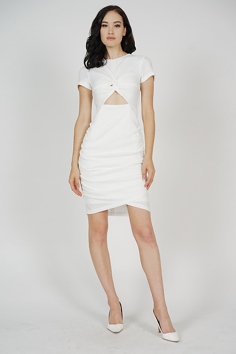 Kalea Knotted Dress in White - Arriving Soon