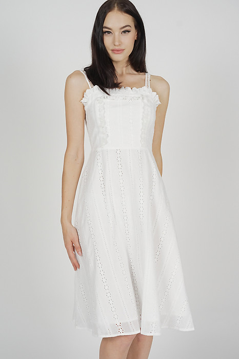 Elliana Flare Dress in White