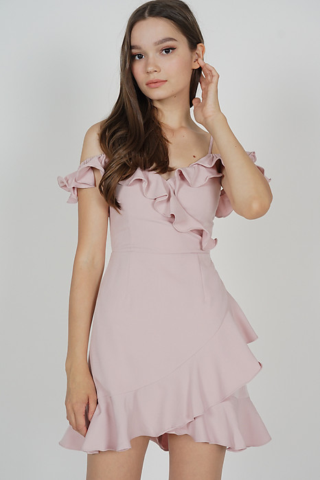 Brenie Ruffled Dress in Blush - Arriving Soon