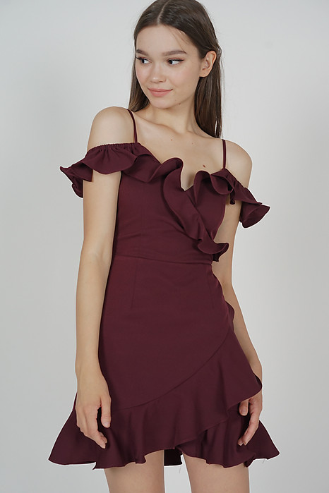 Brenie Ruffled Dress in Oxblood - Arriving Soon