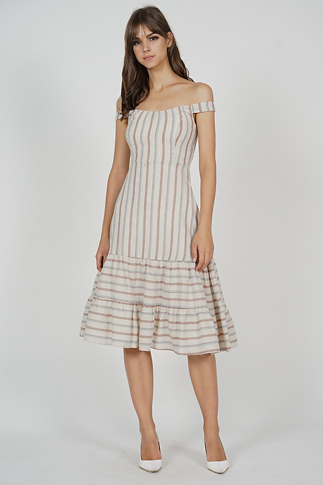 Dorcas Ruffled-Hem Dress in Cream Stripes - Arriving Soon