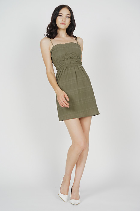 Maeve Gathered Mini Dress in Olive - Arriving Soon