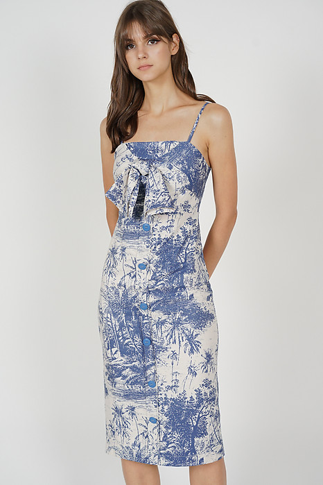 Almis Front Tie Dress in Blue White - Arriving Soon