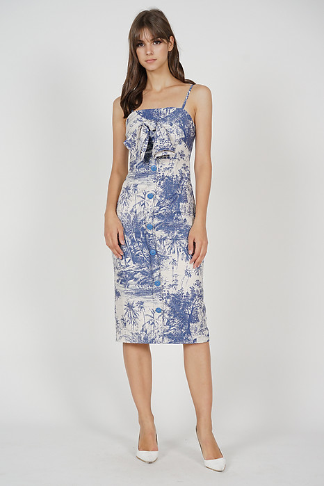 Almis Front Tie Dress in Blue White