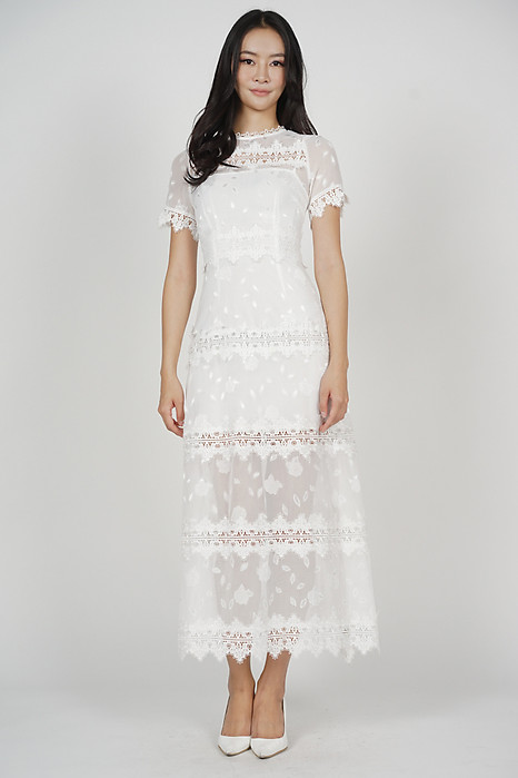 Damaris Crochet Lace Dress in White