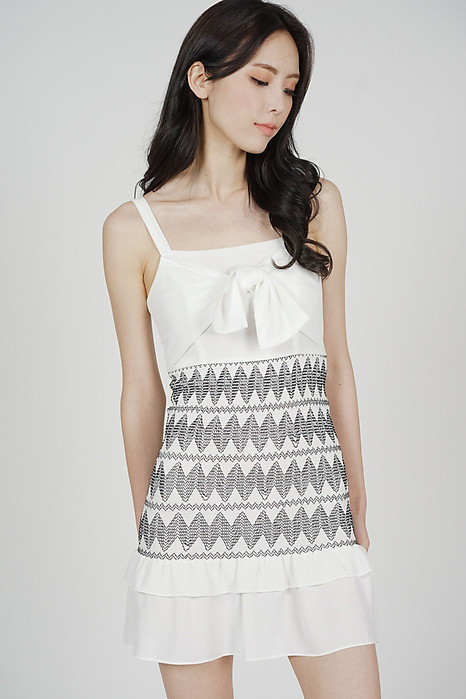 Kamila Front Tie Dress in White - Arriving Soon