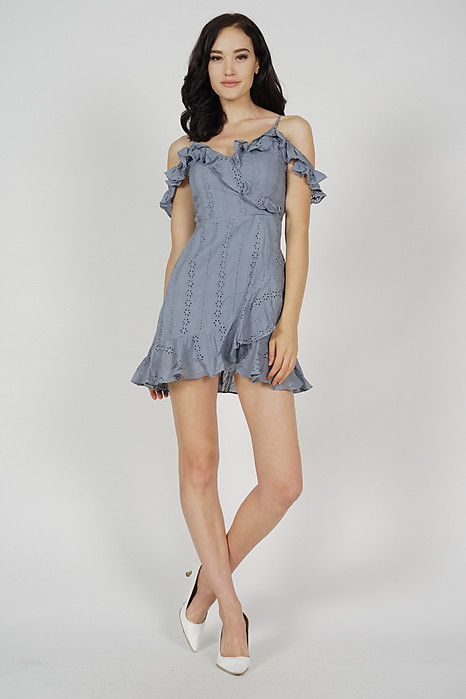Jina Ruffled Dress in Ash Blue