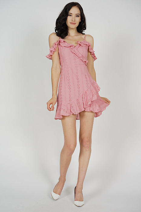 Jina Ruffled Dress in Pink - Arriving Soon