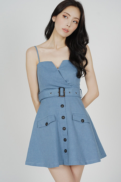 Ivrina Trench Dress in Light Blue