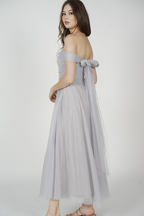 Kelicia Convertible Tulle Dress in Dusty Blue - Arriving Soon