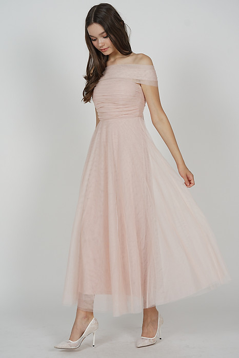 Kelicia Convertible Tulle Dress in Pink