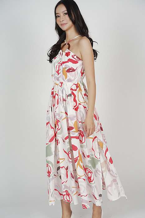 Dayton Gathered Dress in White Red - Arriving Soon