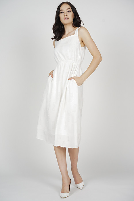 Zoia Flared Midi Dress in White - Arriving Soon