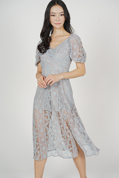 Joanie Puffy Lace Dress in Ash Blue - Arriving Soon