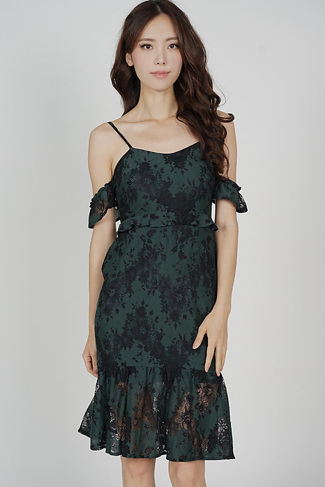 Amara Lace Dress in Forest Green