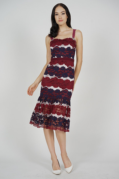 Youina Lace Dress in Oxblood - Arriving Soon