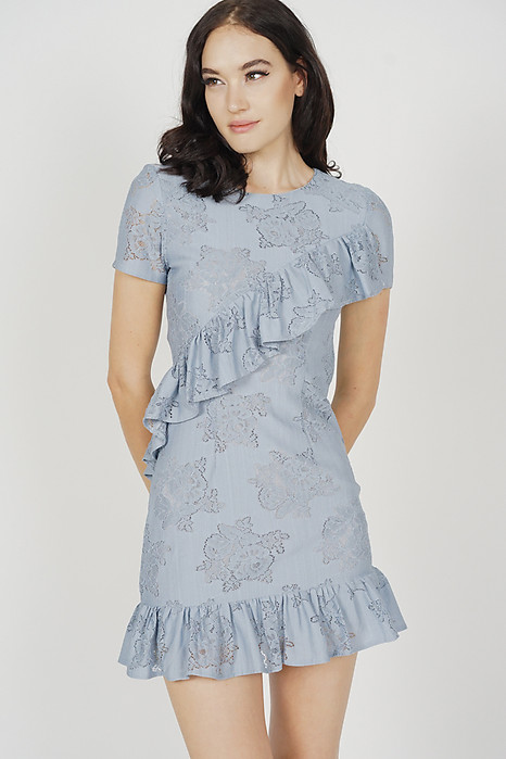 Kellyn Ruffled Lace Dress in Ash Blue