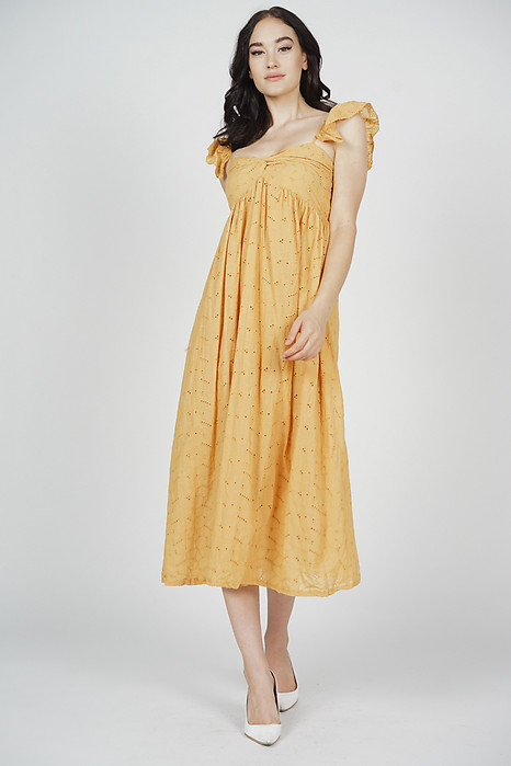 Jazmine Midi Dress in Mustard - Arriving Soon