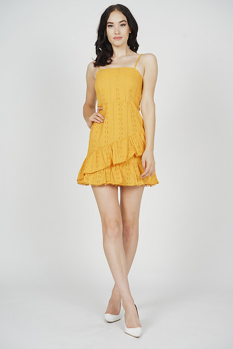 Adleyn Ruffled Dress in Mustard