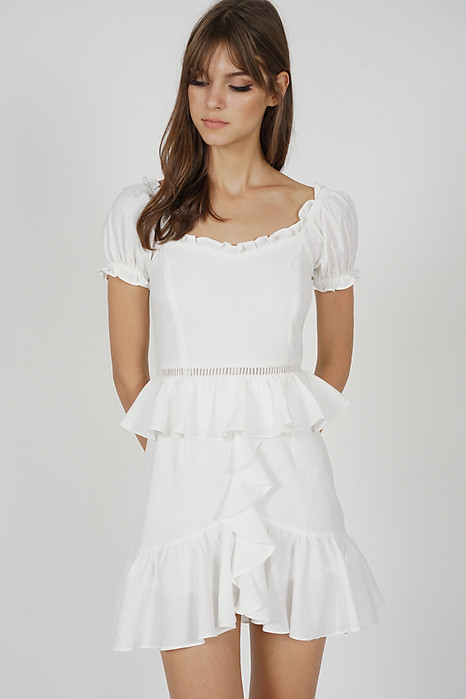 Kellie Ruffled Dress in White - Arriving Soon