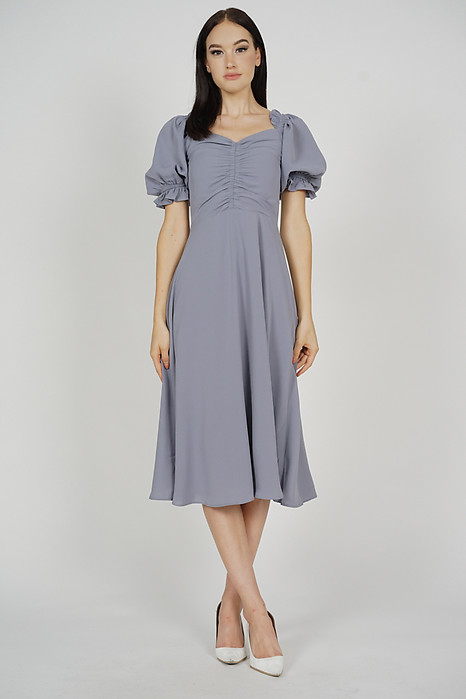 Quenza Gathered Front Dress in Grey - Arriving Soon