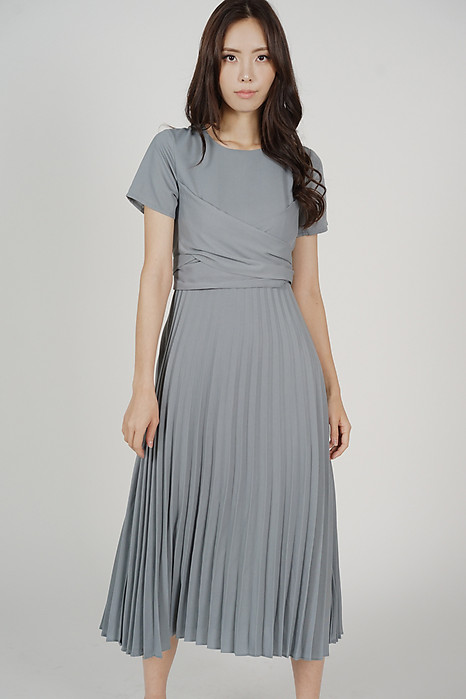 Berni Criss Cross Pleated Dress in Grey Blue