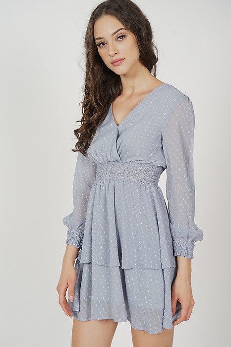 Tasha Sleeved Dress in Ash Blue - Arriving Soon