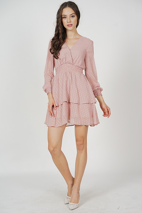 Tasha Sleeved Dress in Pink