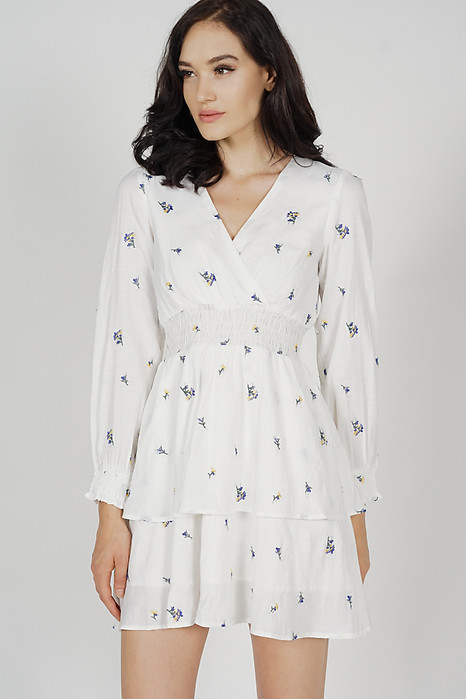 Tasha Sleeved Dress in White Floral