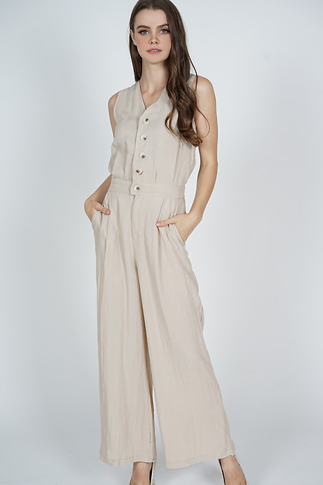 Kevia Wide Leg Jumpsuit in Beige - Online Exclusive