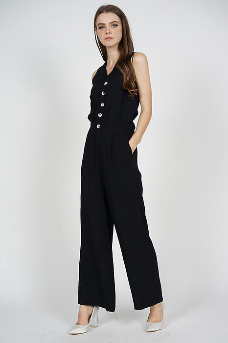 Kevia Wide Leg Jumpsuit in Black - Arriving Soon