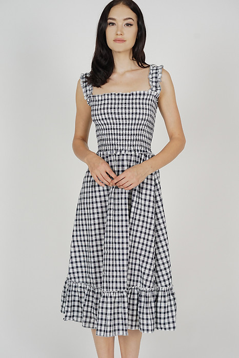 Magen Flared Dress in Black Gingham - Arriving Soon