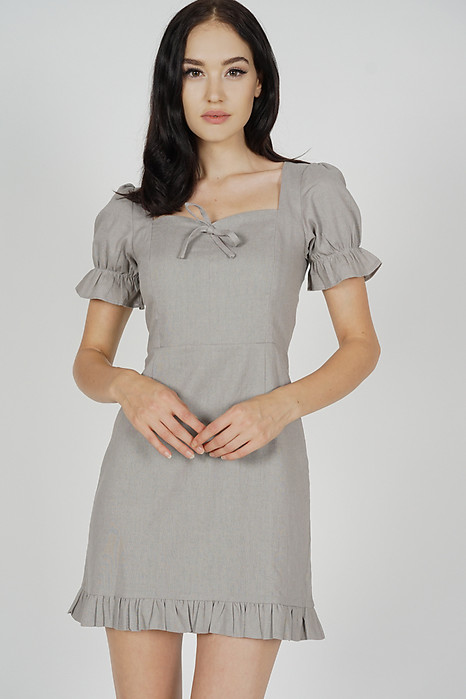 Prisea Puffy Dress in Grey - Arriving Soon