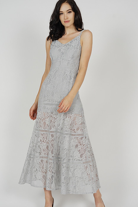 Elisa Lace Dress in Grey - Arriving Soon