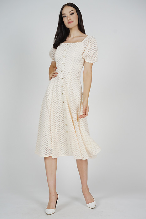 Relzia Flared Dress in Cream - Arriving Soon